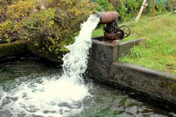 勢いよく湧き出る水